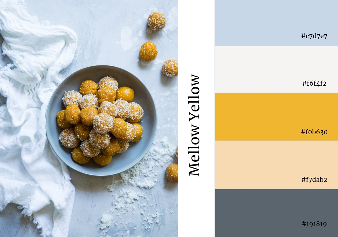 website colour scheme inspiration yellow bons bons grey sweets