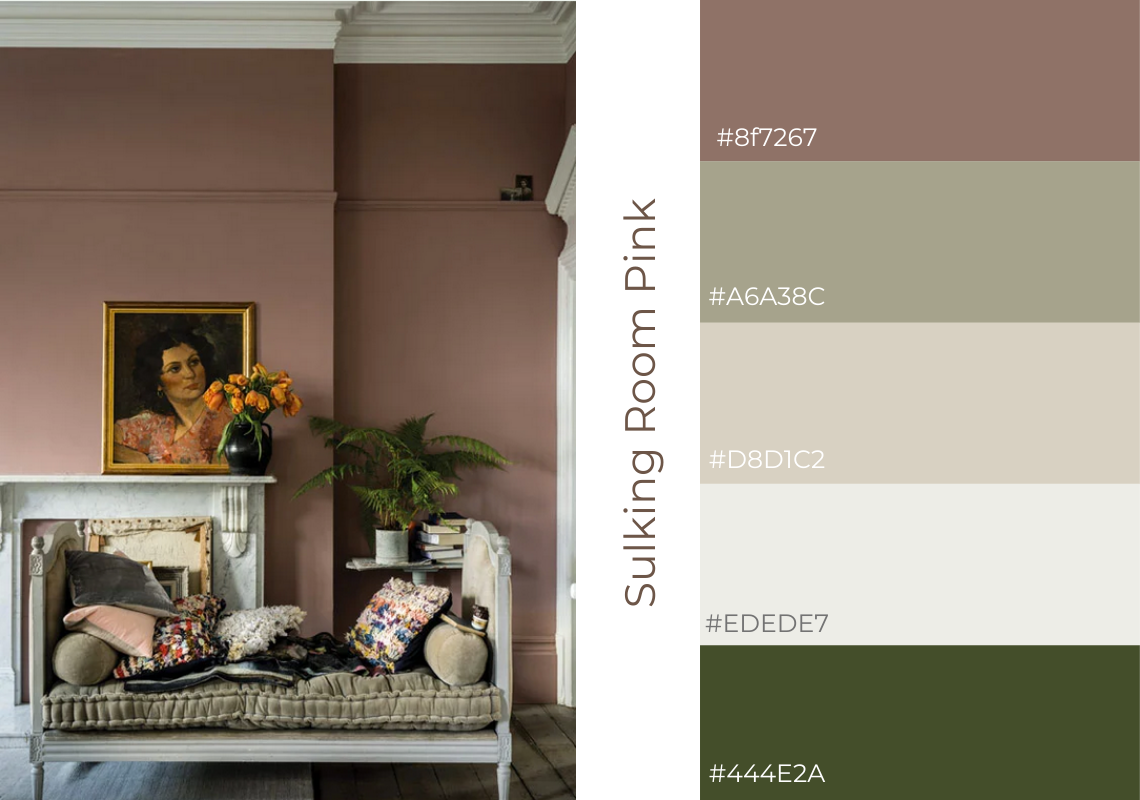 Antiques web design colour schemes farrow and ball sulking room pink