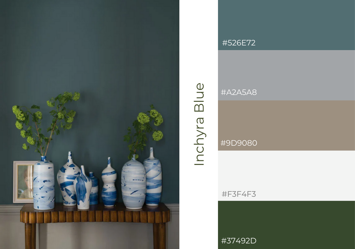 Antiques Web design website colour scheme farrow and ball inchyra blue
