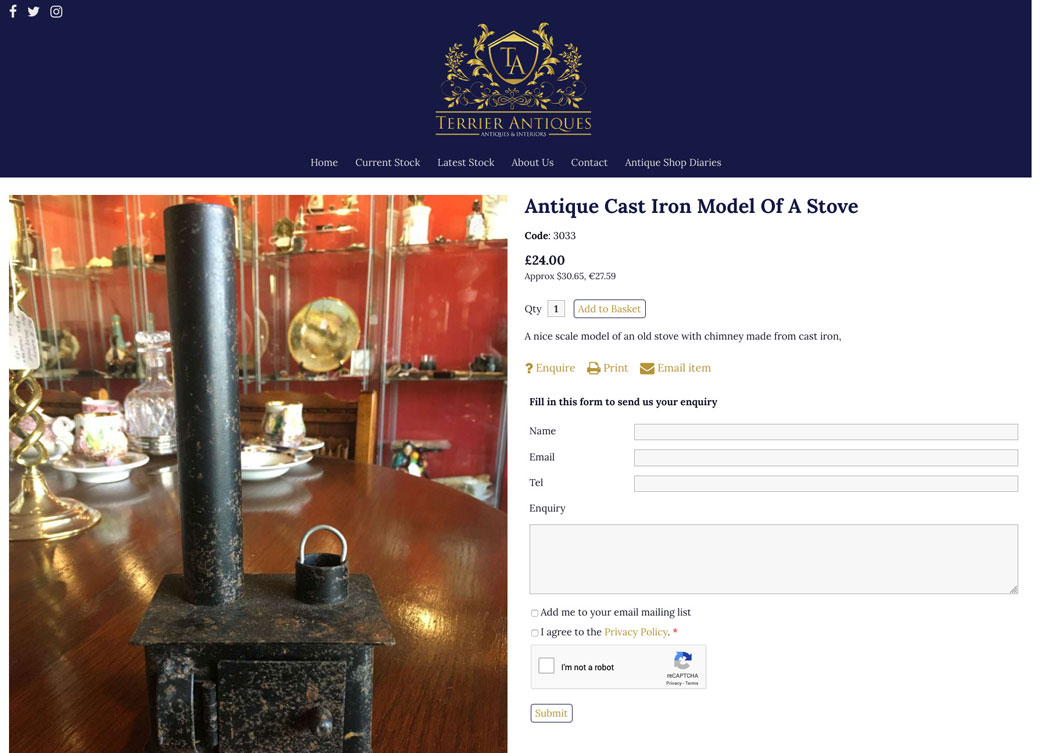 enquiry form update antiques web design